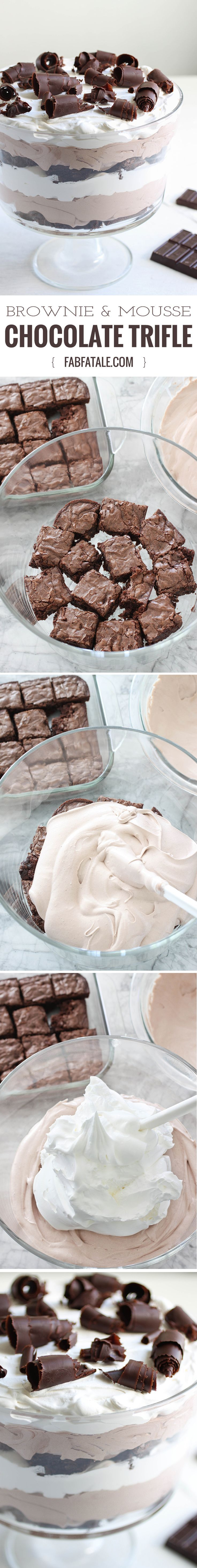 this chocolate brownie and mousse trifle feeds a crowd, has a beautiful… http://www.keeshndb.com/