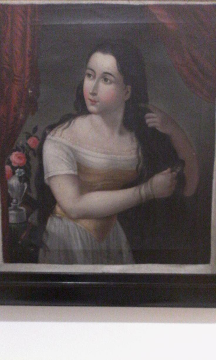 Anònimo siglo XIX Mujer peinándose Oleo sobre tela