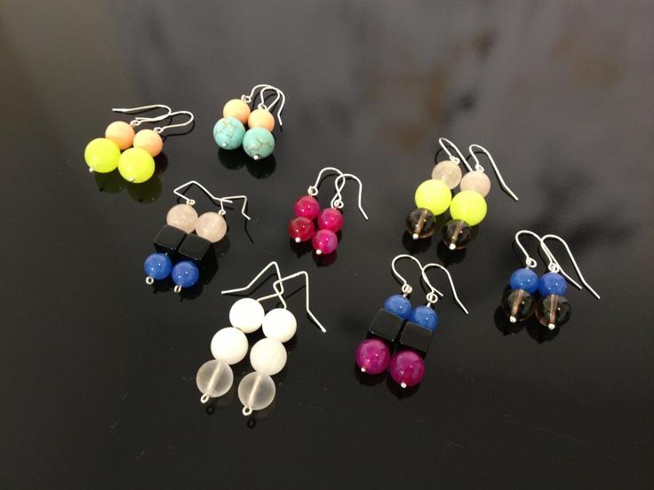 Colourquake semi precious stone earrings, Sterling Silver 925.