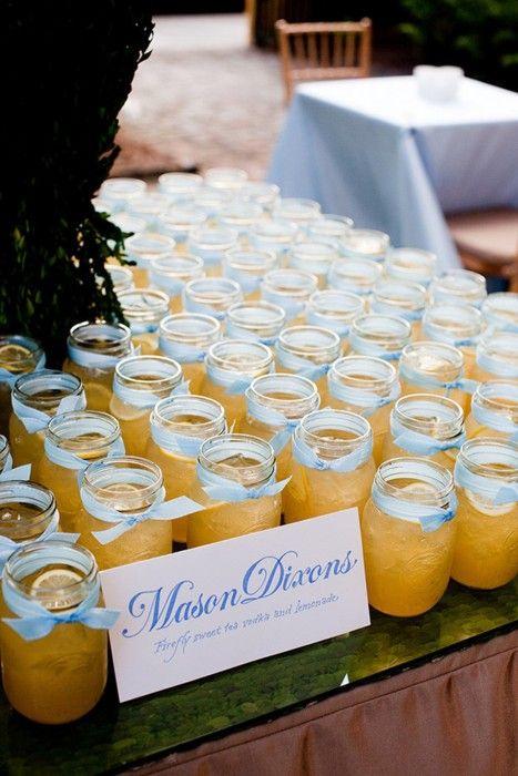 mason dixons: firefly sweet tea vodka and lemonade (in mason jars!) Awesome idea for cocktail reception!