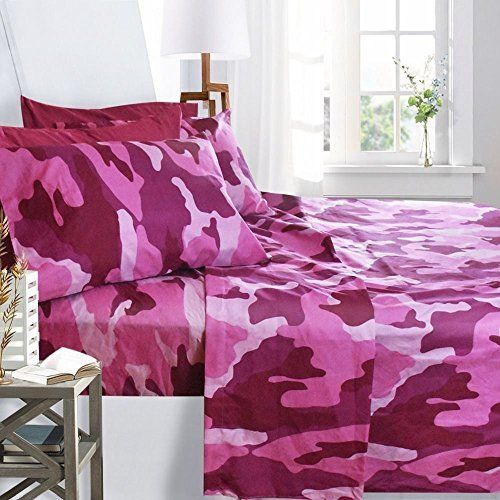 6 PCS Bed Sheet Set Queen Pink Camouflage Pillowcases Hypoallergenic Soft Brush #ClaraClark #Modern