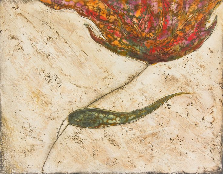 """Flower 2"" 36x28cm encaustic art by Mirella Vassallo"