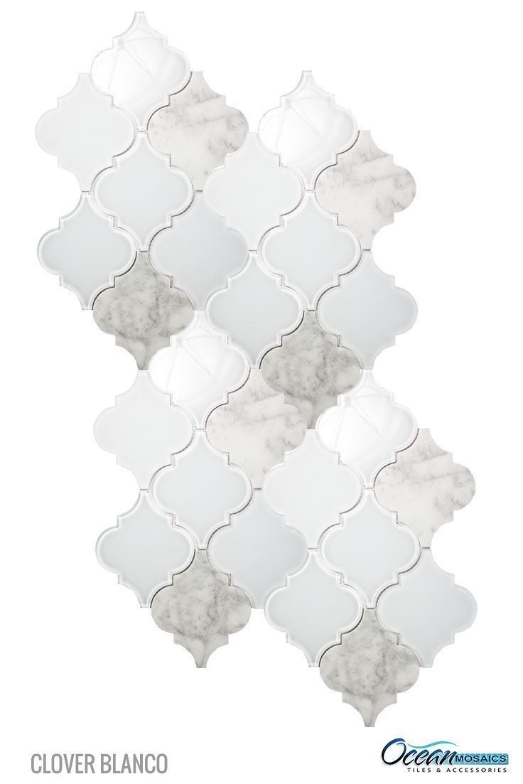 30 best mosaic tiles images on pinterest tiles kitchens and crisp white frosted and clear glass tile and marble entwined in this arabesque moroccan tile dailygadgetfo Image collections