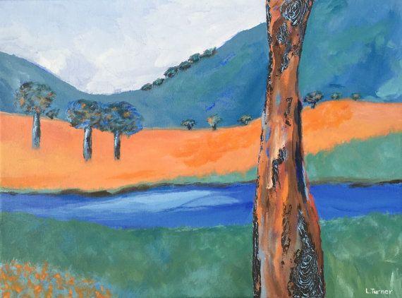 Australian Bush Landscape Painting, Gum Trees, River, Original, Acrylic on Canvas, Australian Artist, Ready to Hang