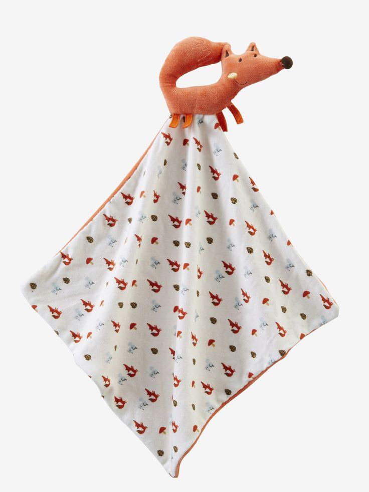 Doudou et hochet Renard orange - Un renard hochet et son premier doudou à câliner, à glisser dans le berceau de bébé dès la maternité ! Une adorable idée cadeau !  www.vertbaudet.fr