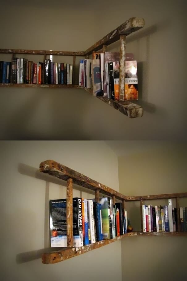 36 Brilliant Repurposed Old Ladder Ideas For Fans Of Upcycling. Wraparound  Distressed Hanging Bookshelf Design