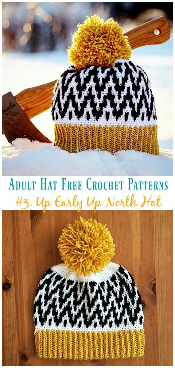 432c0903910b0 Up Early Up North Hat Free Crochet Pattern - Adult #Hat; #Crochet; Free  Patterns