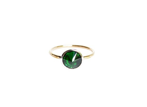 Emerald Ring Thin Gold Ring Inverted Stone Ring by StefanieSheehan