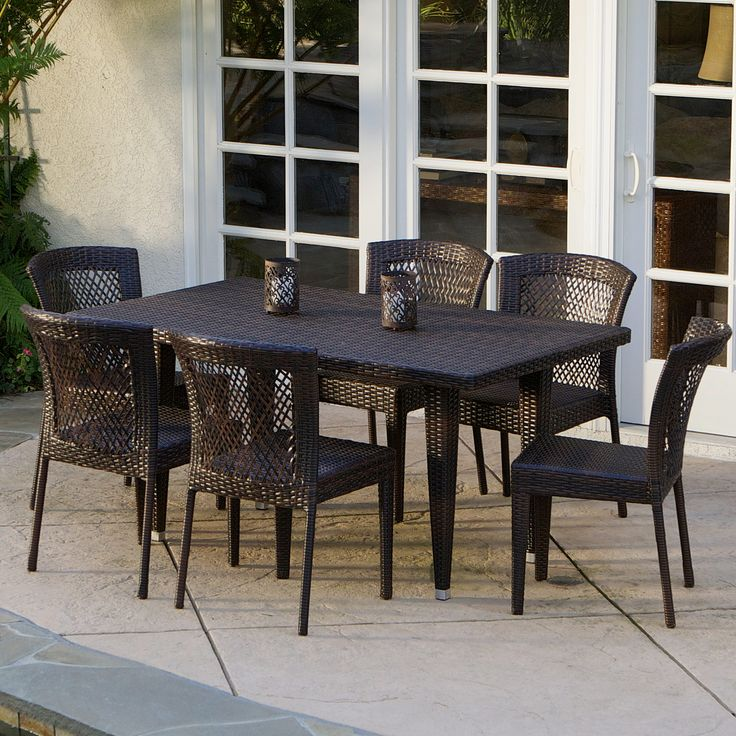 dana point 7pc outdoor patio furniture brown wicker dining set