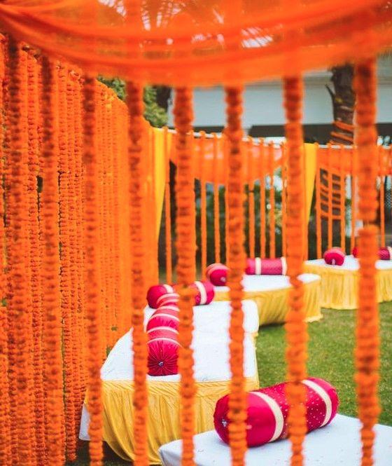 Make You Mehandi Ceremony Traditional And Ethnic With Orange Yellow Marigold Flowers MehandiDecor WeddingMarigold FlowerIndian