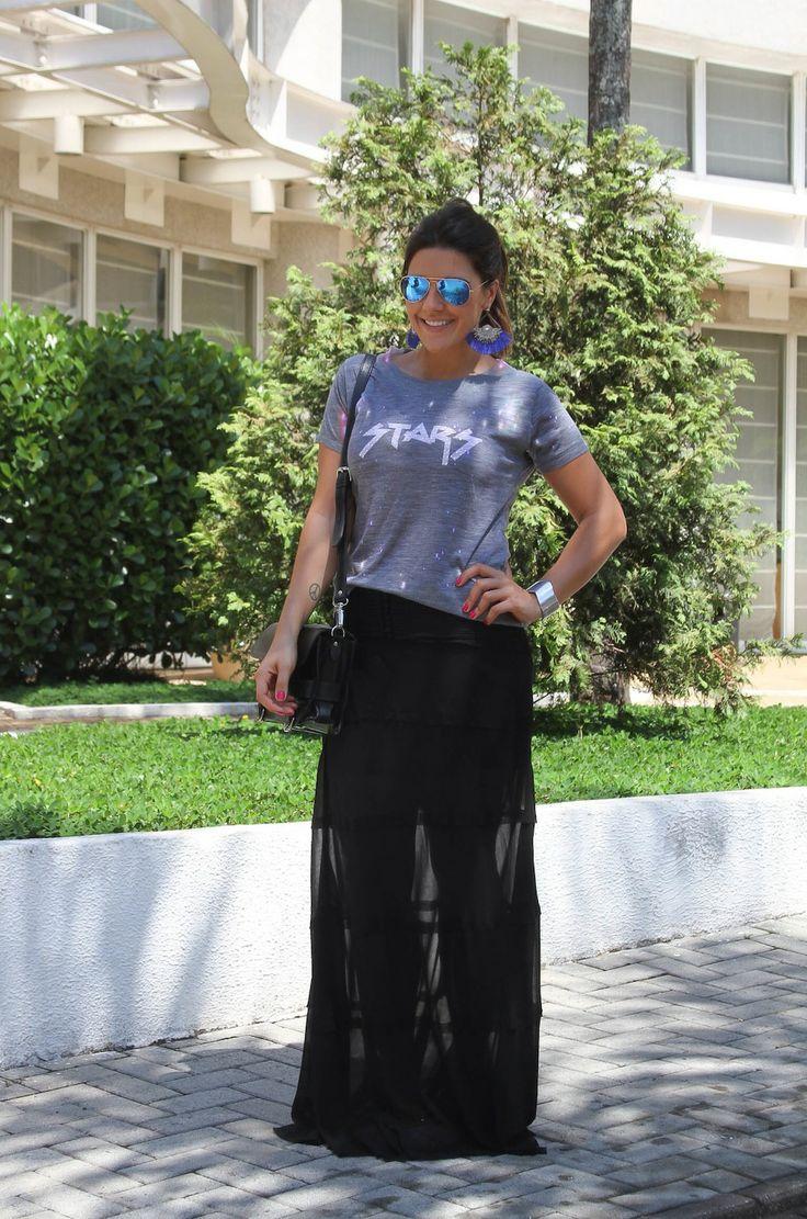 SaiaLonga21 Meu Look: Saia longa + Camiseta Parceiros Must Have Mariza Moreno Mari Looks Look do Dia