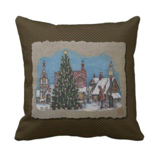 Christmas Village Lamplighter Throw Pillows