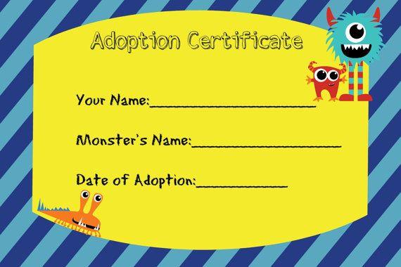 Certificado de adopción para Little Monster cumpleaños