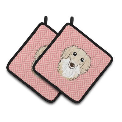 Caroline's Treasures Checkerboard Longhair Dachshund Potholder Color: Pink / Creme