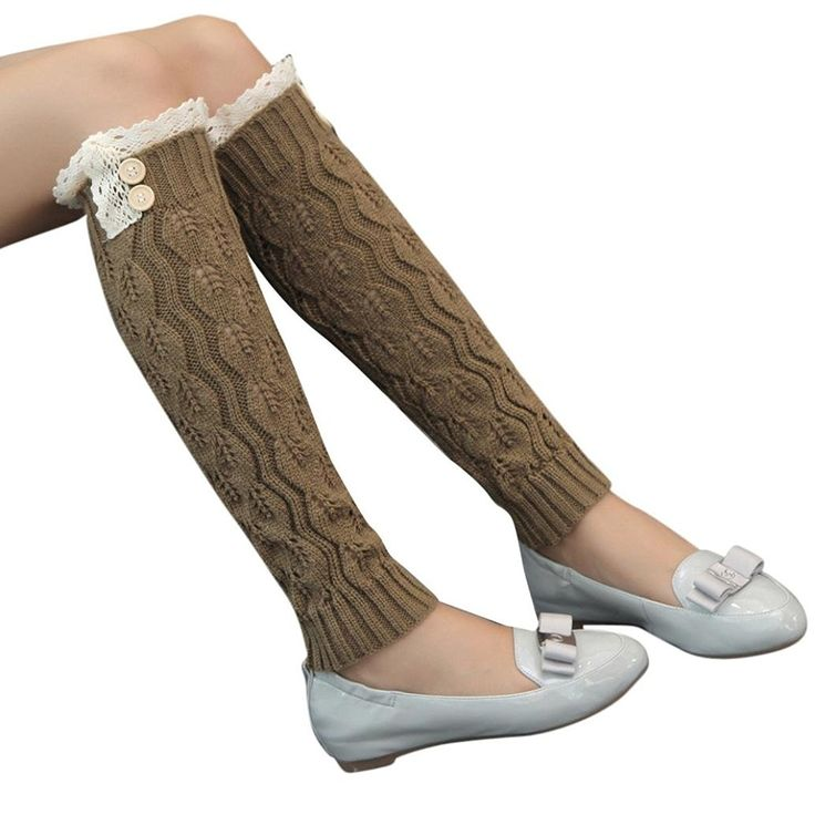 Muxika Winter Women Lace Knitted Stocking Leg Warmers Boot Cuffs Crochet Socks > Can't believe it's available, see it now : Fashion for Christmas