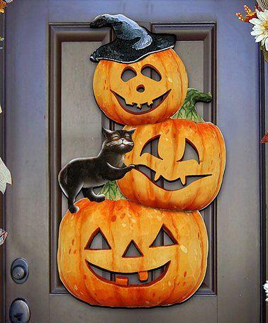 Look what I found on #zulily! Halloween Pumpkins Door Hanger #zulilyfinds