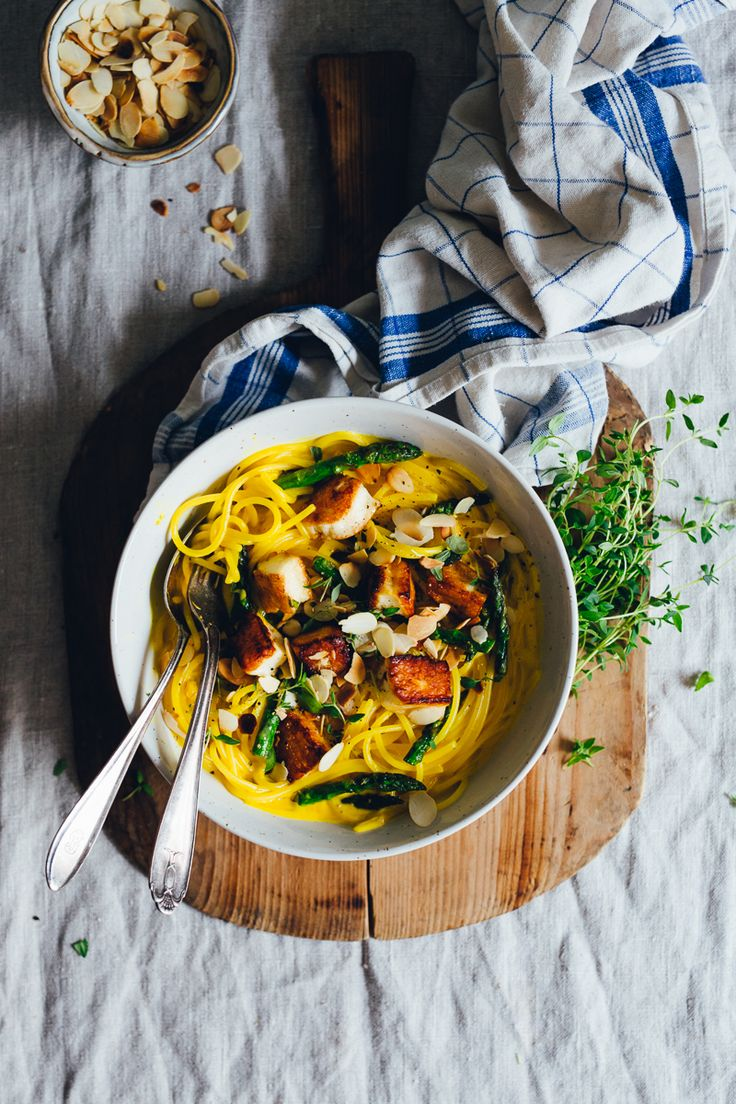 Creamy Saffron & Lemon Pasta with Halloumi, Asparagus & Slivered Almonds   Cashew Kitchen