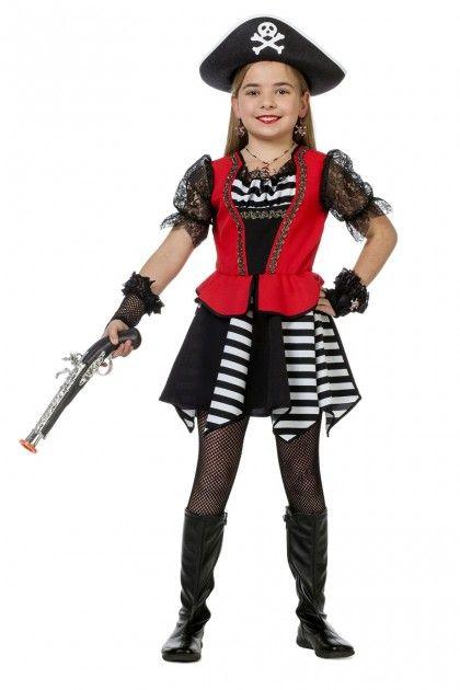 Piraat zwart-wit meisje - Kinderen - Hendriks Carnaval
