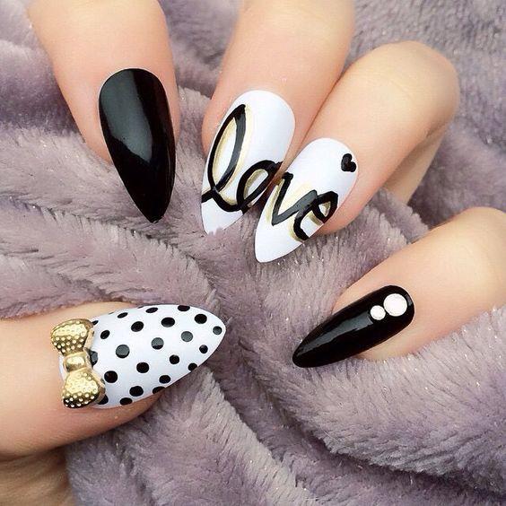 Unique Polka dots, love and bow nail art