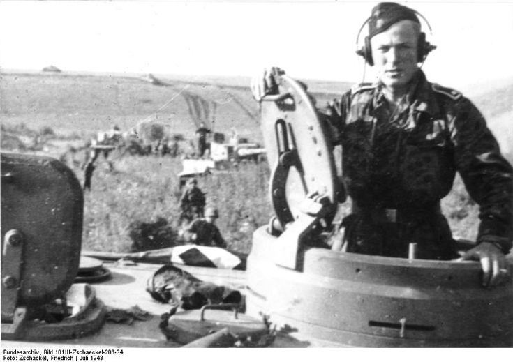 "Swere Panzer SS-Panzer Rgt. 2 - "" Das Reich ""- Johann T Doroschuk stading in the Tiger S14 - during Operation "" Zitadelle ""- near Kursk July 1943"