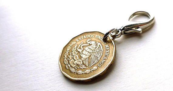 Vintage 1992 Mexican coin zipper charm Eagle charm Zipper