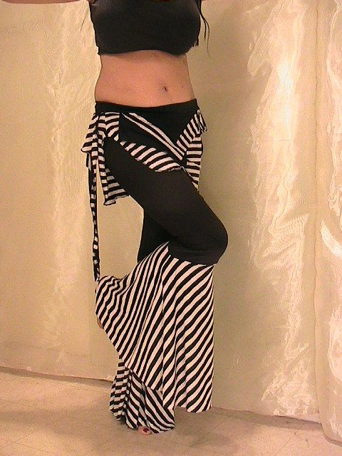 STIRPES!!! YES LIKE IT Tribal belly dance and Festival Flared Pants and Seaweed Skirt set in black and white stripes MED- LAR
