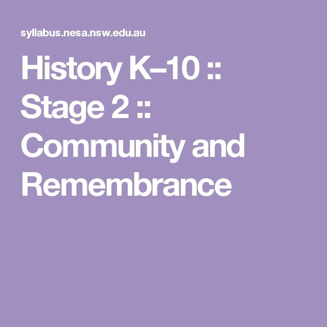History K–10 :: Stage 2 :: Community and Remembrance