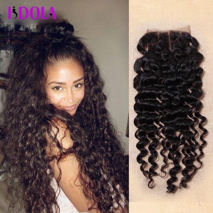 Hot !!! Brazilian Deep Wave Closure 3 Part Virgin Human Hair Closure Deep Curl Brazillian Water Wave Closure 4*4 Lace Closure