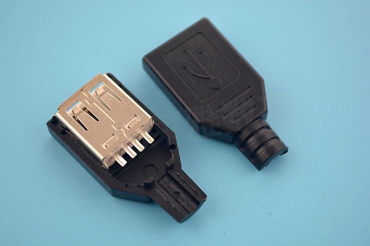 10 대 많은 당 diy usb 2.0 형 여성 어셈블리 어댑터 커넥터 소켓 소켓 블랙 솔더 형 플라스틱 쉘