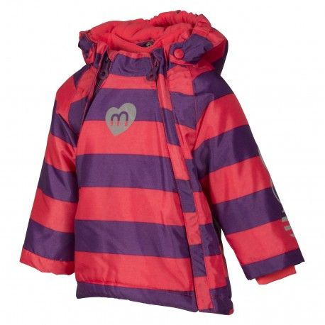 Snow jacket with two zippers, teaberry striped, Minymo