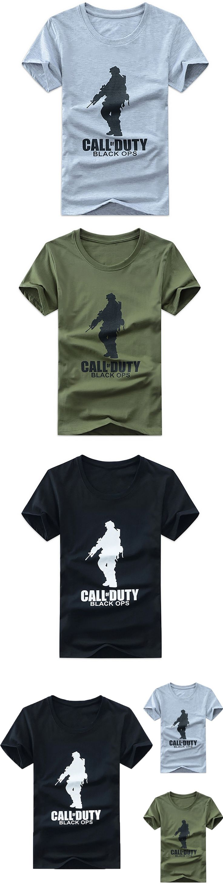 Men's T-Shirt Three Colors Summer Style Adults TShirt Printed CALL DUTY BLACK OPS and Man Size M-2XL