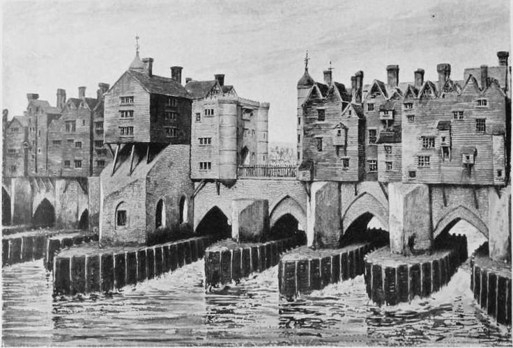Old London Bridge showing London Square and Remains of St. Thomas Chapel. c.1666