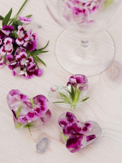 Tolle Eiswürfel zum Selbermachen. Und die hübschen DIY Teile sind sogar essbar! Hier die Anleitung für Eiswürfel mit essbaren Blüten.