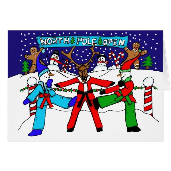 Karate Snowmen and Reindeer Karate Tournament Card #cards #christmascard #holiday