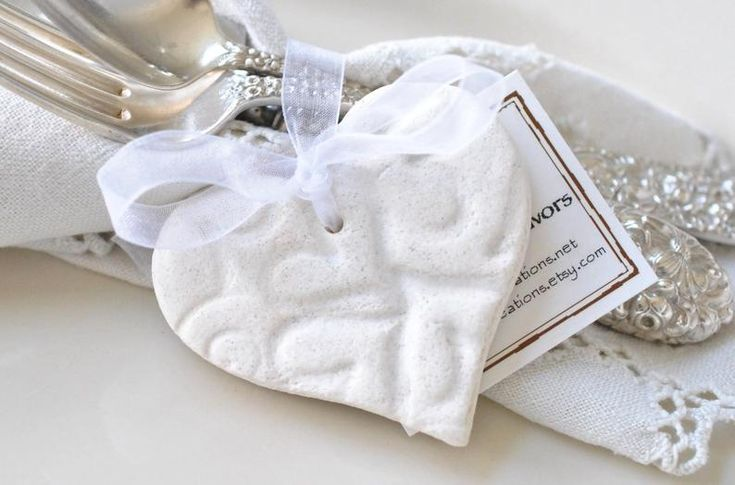 Personalized Wedding Favors Set of 6 Imprinted Heart Salt Dough Heart Napkin Rings or Ties Wedding Bridal Shower or Baptism Decorations