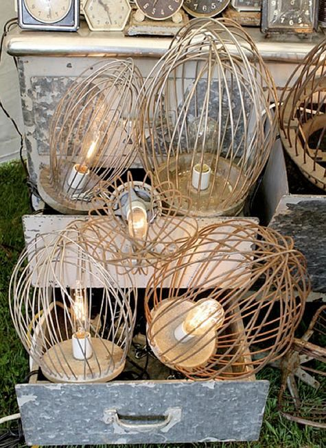 Junk Gypsies - Old industrial kitchen whisk mixers reused to create fun country light fixtures!