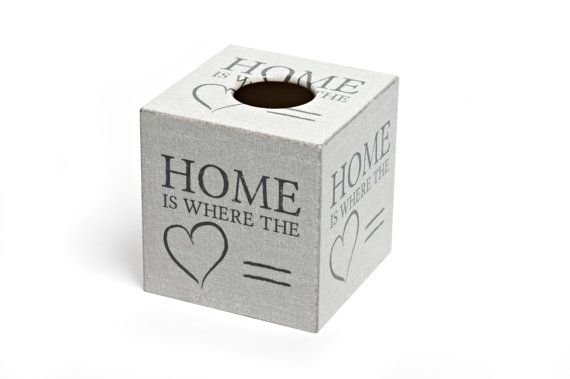 Home is where the heart is this Autumn with Crackpots' hand decoupaged Tissue Box Cover -wooden handmade