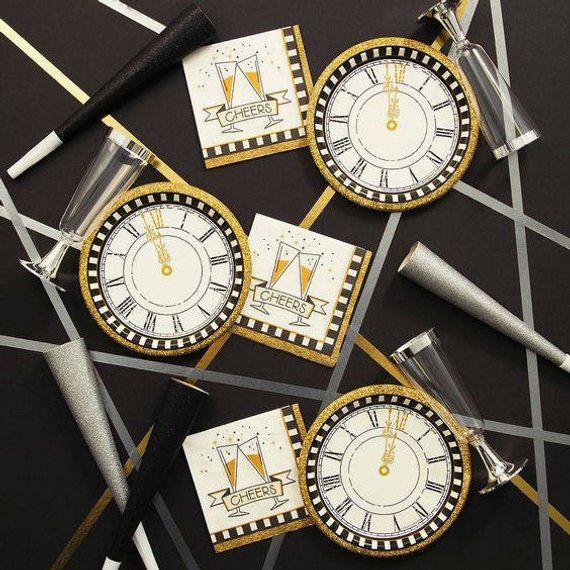 8ct NEW YEARS CLOCK Small Paper Plates Midnight Twelve 12 ...