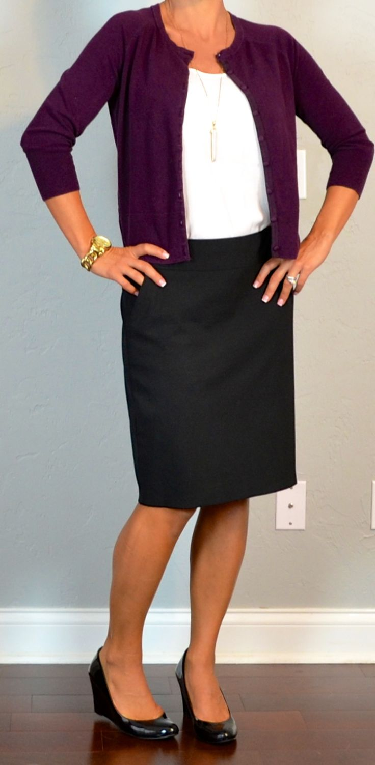 Outfit Posts: outfit post: burgundy cardigan, white cami, black pencil skirt, black wedges