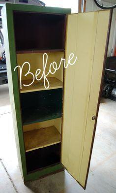 chalkboard paint on metal cabinet for storage locker www.thedesignest.com