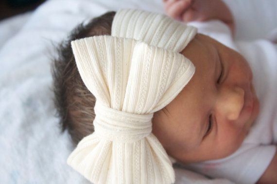 Lacey Cream Bow Headband / Women / Girls / Toddler by MAMAOWLSHOP