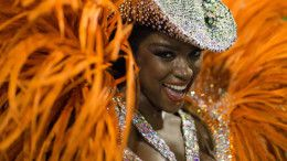 A reveller of Imperatriz samba school performs during the second night of the carnival parade at the Sambadrome in Rio de Janeiro, Brazil, on february 09, 2016. AFP PHOTO / CHRISTOPHE SIMON / AFP / CHRISTOPHE SIMON        (Photo credit should read CHRISTOPHE SIMON/AFP/Getty Images)