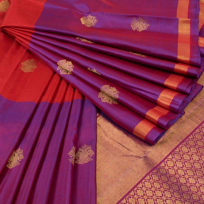 Subhashini Purple & Red Handwoven Muppagam Kanjivaram Silk Saree With Iruthalaipakshi Motifs 10008639 - AVISHYA.COM