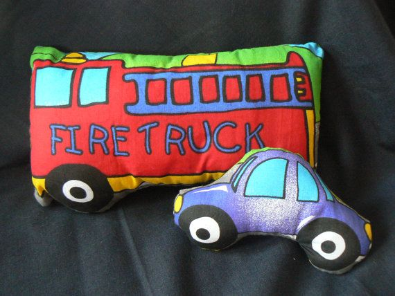 Fire Truck cushion with Car cushion available at www.etsy.com/lizziedoodlesnz