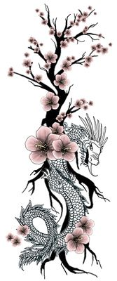 Japanese Dragon Flower Tattoo Cherry Blossom | Just Free Image Download #dragon #tattoos #tattoo