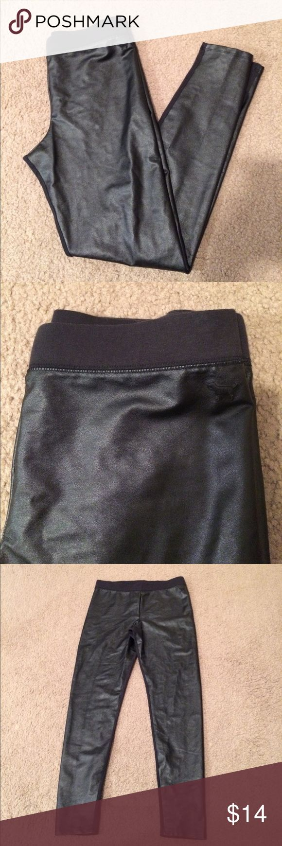 """$9 vs pink """"leather"""" panel leggings Only worn a couple times. Excellent used condition. Front of the leggings is a fake leather material. Back is regular black legging material. Very comfortable and cute.✔The price in the beginning of the title of my listings is the bundle price. These prices are valid through the """"make an offer"""" feature after you create a bundle. These bundle orders must be over $15. Ask me about more details if interested.  ❌No trades ❌No holds PINK Victoria's Secret Pants…"""