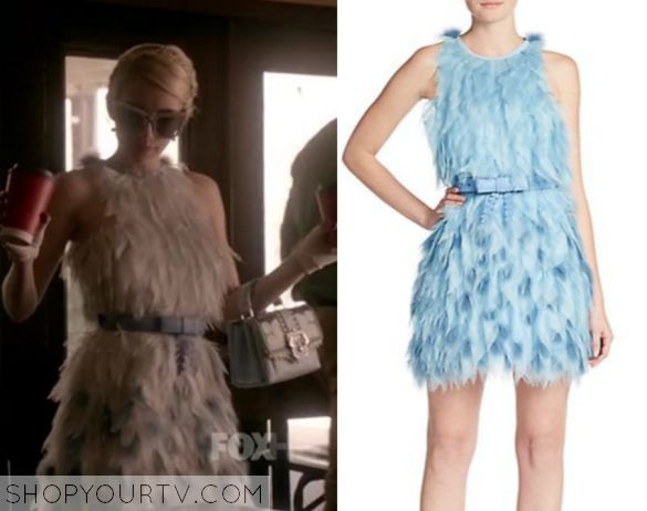 Chanel Oberlin (Emma Roberts) wears this feather dress in this week's episode of Scream Queens.