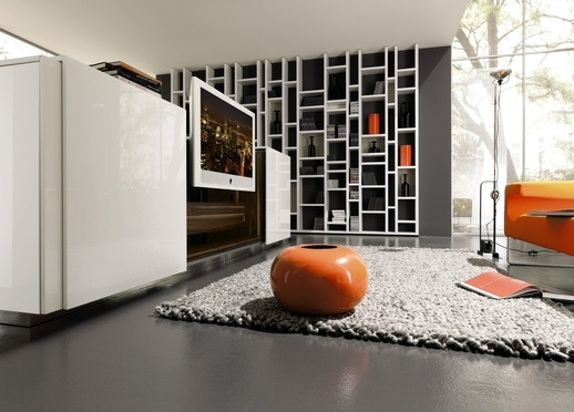 Hulsta - Love the accent orange in this Hulsta living room - The best in German design available at Bell of Northampton