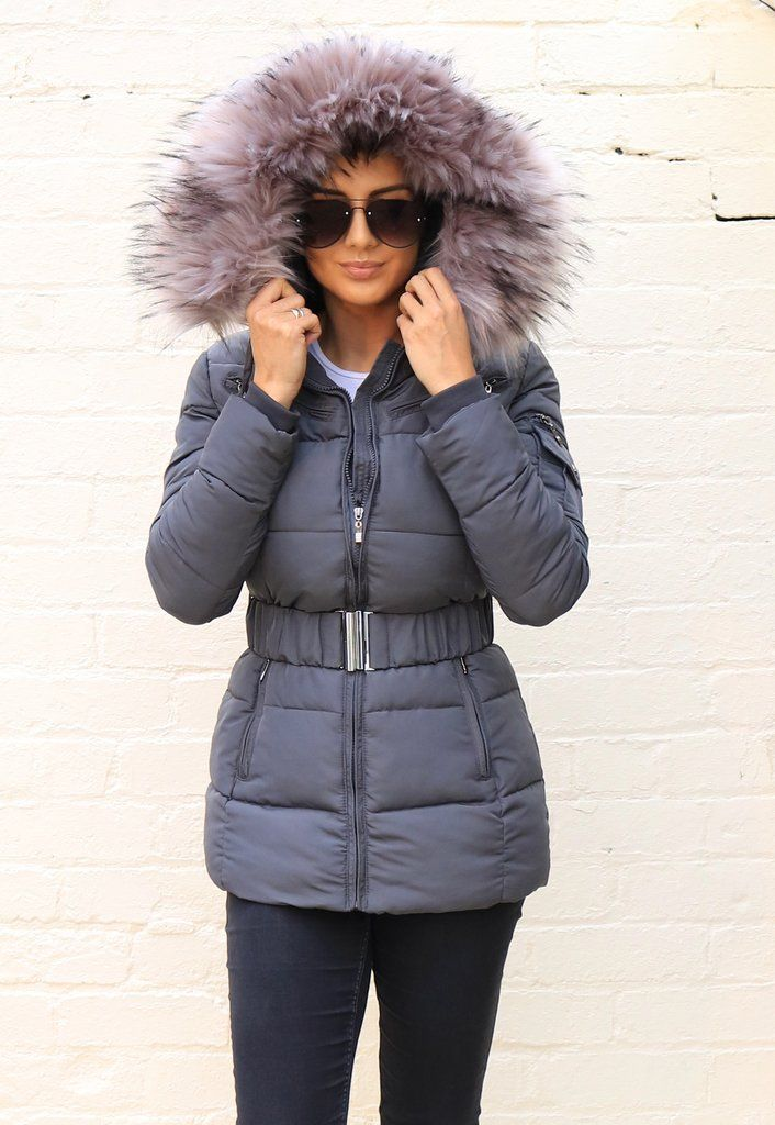 Gray Hooded Longline Winter Coat with Belt