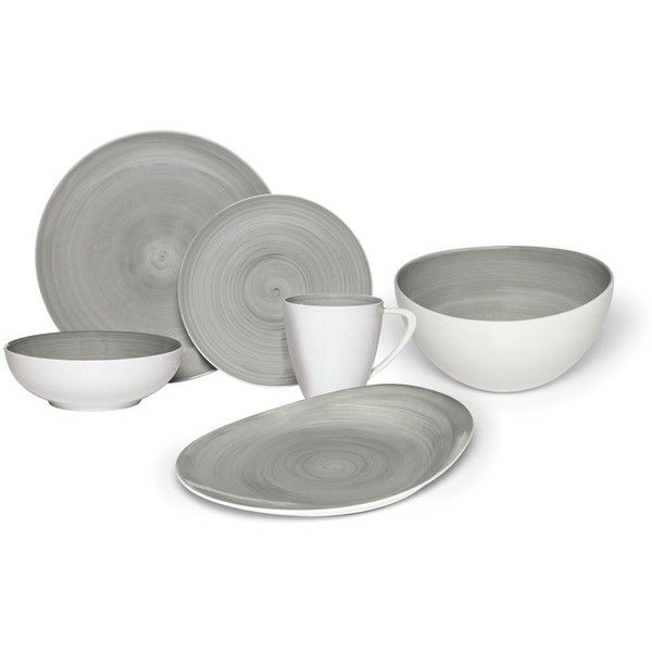 Savona Grey Service for 8 with Serveware ($710) ❤ liked on Polyvore featuring home, kitchen & dining, dinnerware, grey dinnerware, gray dinnerware, grey dinnerware sets, grey plates and dishwasher safe dinnerware sets